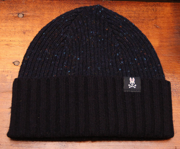 Psycho Bunny - Wool Preston Trim Watchman Hat - Black