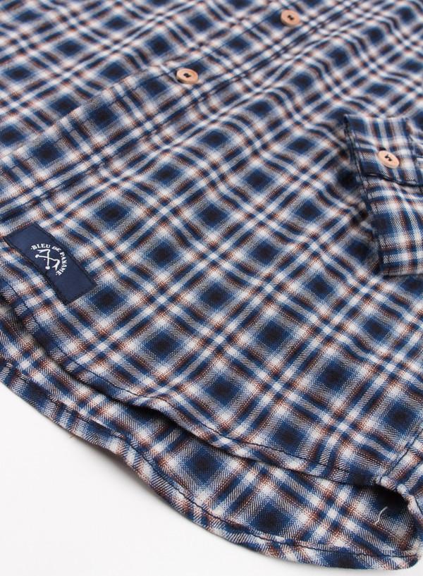 Men's Bleu De Paname Chemise Bureau Carreaux Bleu