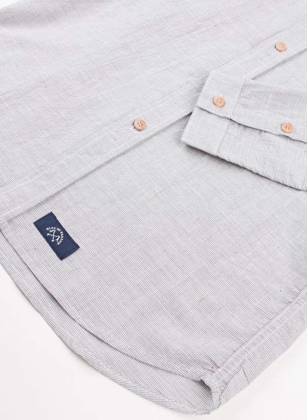 Men's Bleu De Paname Chemise Bureau Twill Stripe Acier