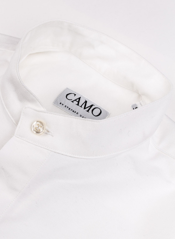 Men's Camo Piano Band Collar Shirt White