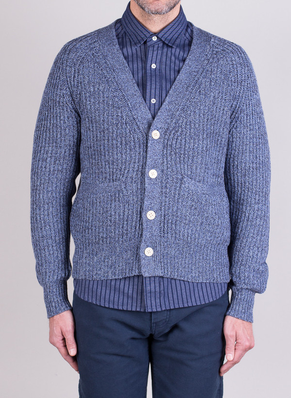 Men's Shipley & Halmos Rogers Cardi Blue Frond