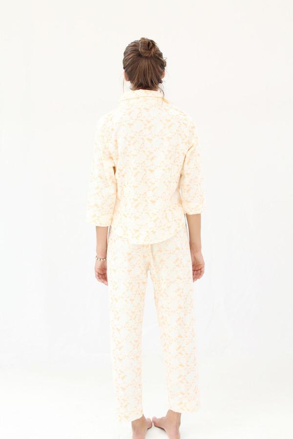 Lina Rennell Organic Cotton Flannel Pajama Set / Citrus Lace