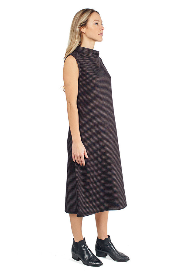 Priory Chie Dress Washed Black Grid