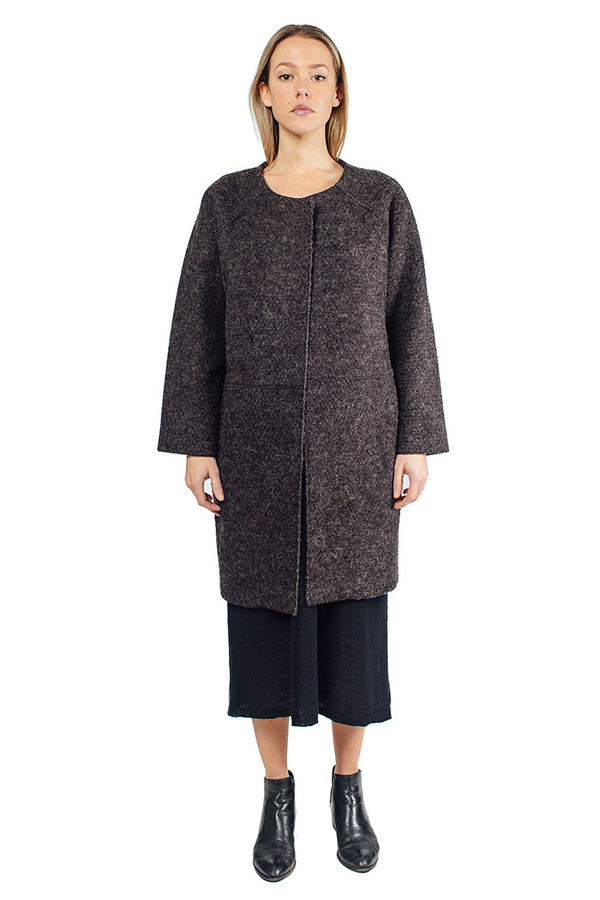 Hill Wool Coat Charcoal Black