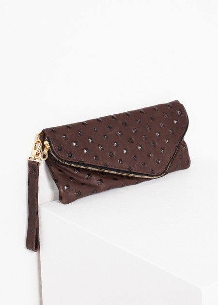 Kate S Mensah Roxanne Leather Clutch in Brown