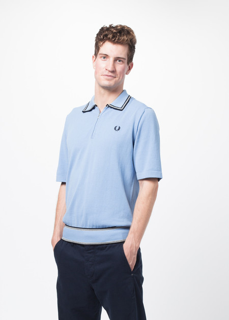 Men's Fred Perry Short Sleeve Half Zip Knitted Shirt