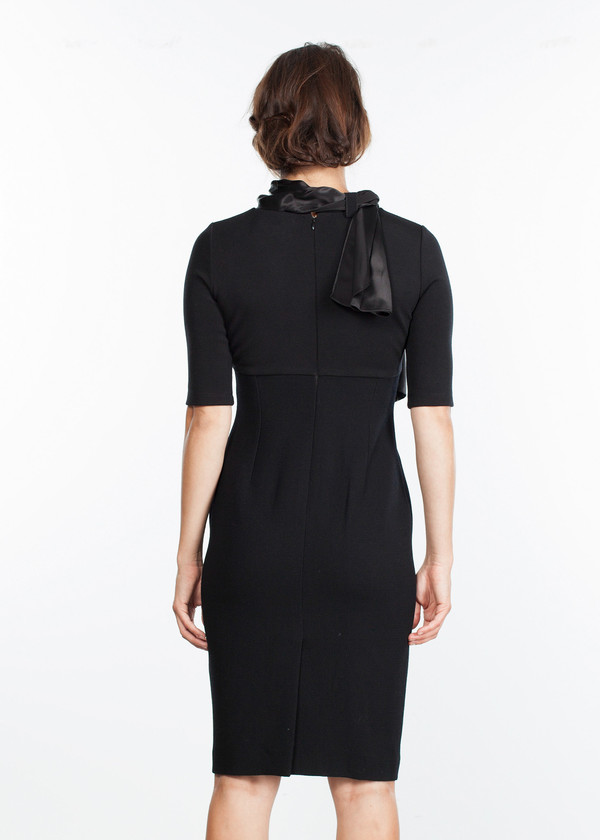 Amelia Toro Tie Neck Wool Dress