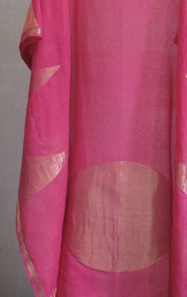 Two Hot pink metallic circle caftan