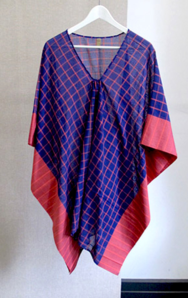 Two Violet blue and pink graph pattern sari caftan