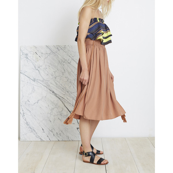 ASSISI TEA LENGTH SKIRT - ONION SKIN