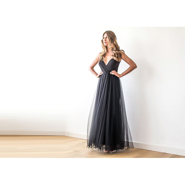Blush Black Tulle Maxi Dress