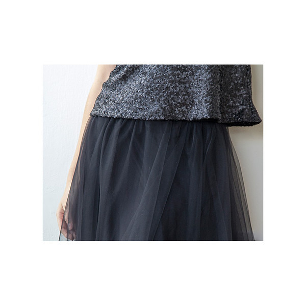Blush Long Black Tulle Skirt