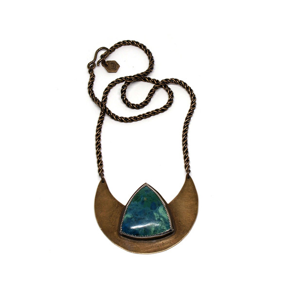 Laurel Hill Crescent Shield Necklace with Tibetan Turquoise // OOAK
