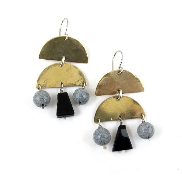 Laurel Hill Stone Veil Earrings // obsidian & gray spotted feldspar