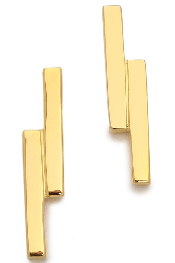 Kristen Elspeth Gold Lightning Stud Earring