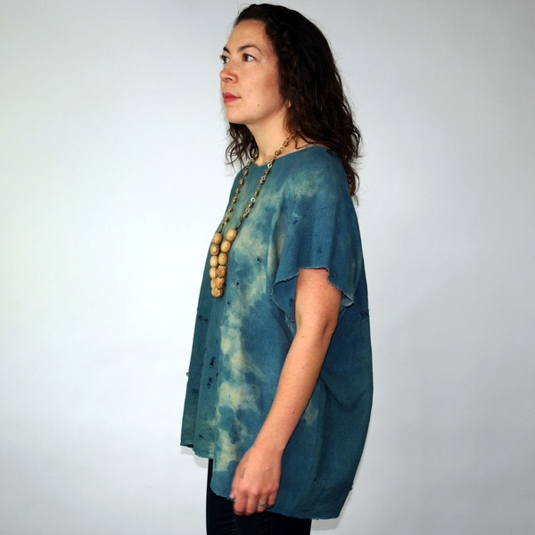 Totally Blown Raw Indigo Top