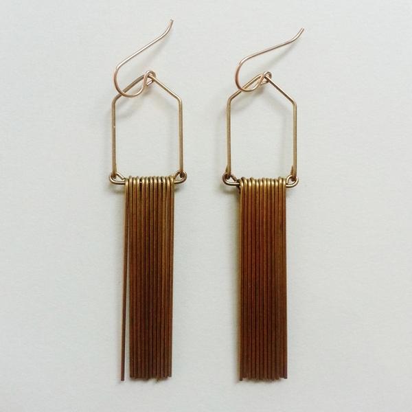 Hellbent Narrow Angular Fringe Earrings