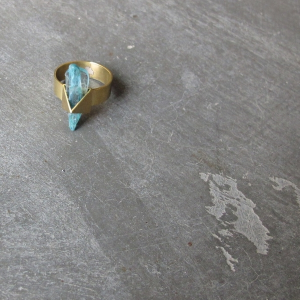 Beach Bones Crystal Pyramid Ring