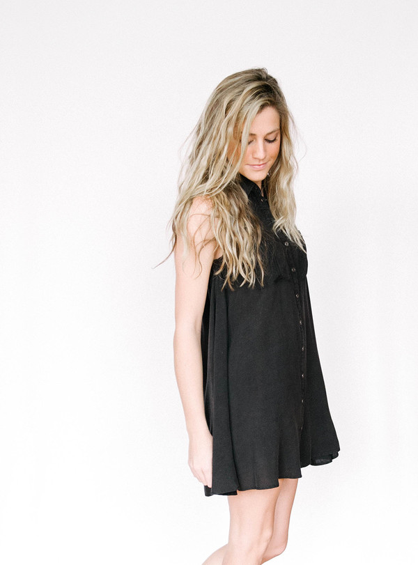 En Creme Black Button Dress