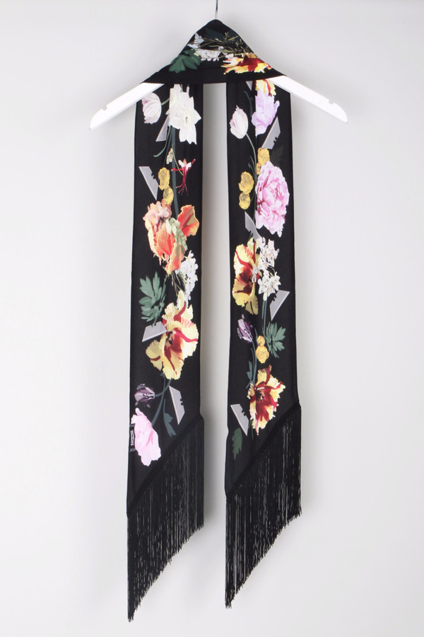 Rockins Flora Classic Skinny Black Scarf