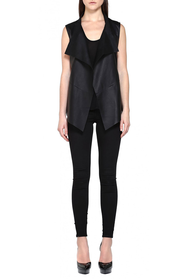 Mackage Haley Draped Leather Vest I Black