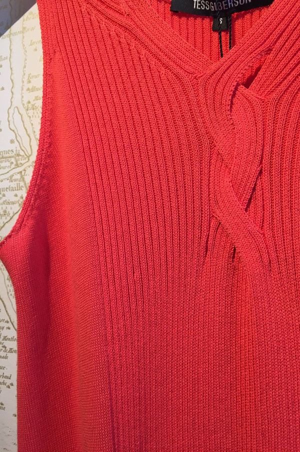 Tess GIberson Rib Knit dress with slash details