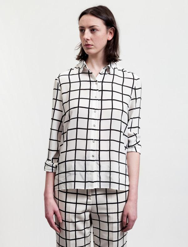 Marimekko Grid Print Silk Shirt