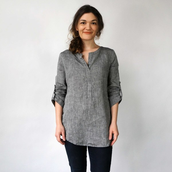 Nuthatch Tab Shirt in Washed Linen