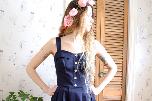 Birds of North America Tyrant Dress (Navy)