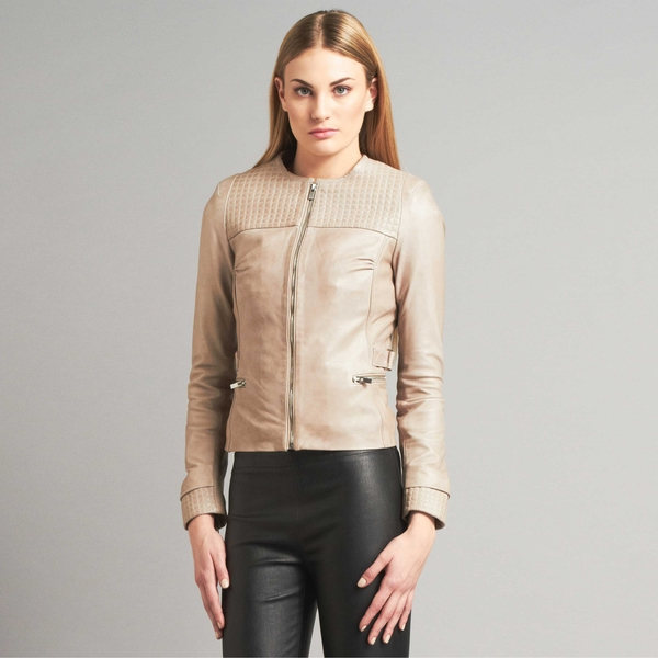 LAMARQUE RAQUEL Micro Square Quilted Leather Jacket