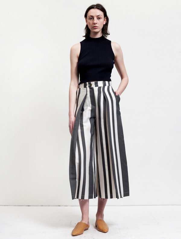 Etienne Deroeux Womens Donna Striped Wide Leg Trousers