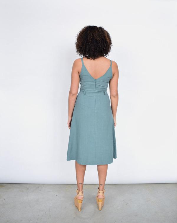 Lush V Linen Dress in Dusty Green