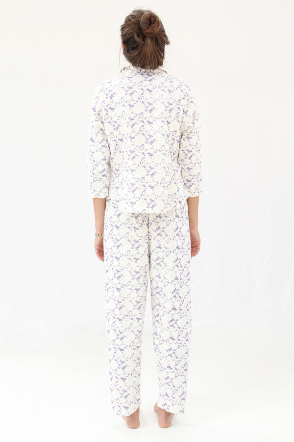 Lina Rennell Organic Cotton Flannel Pajama Set / Grape Lace