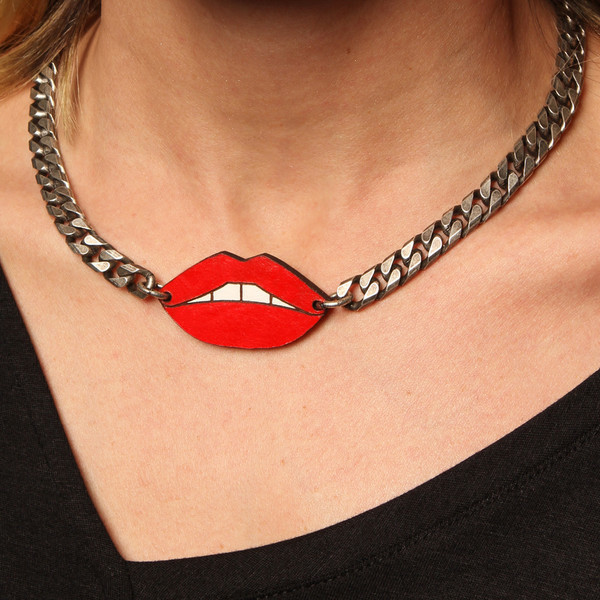 Leather Atelier Red Lips Necklace