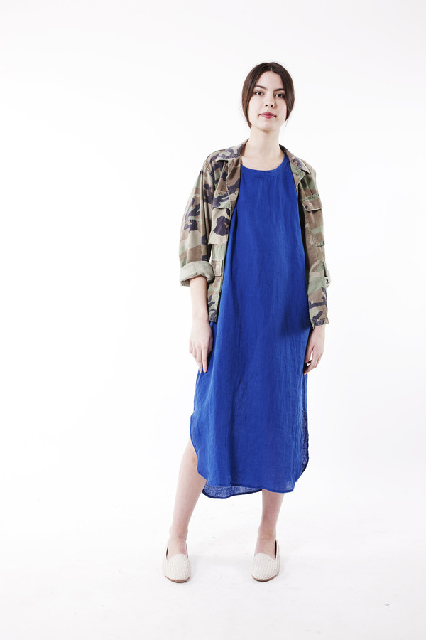Black Crane Linen Long Dress