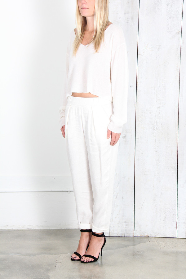 Raquel Allegra DIRTY WHITE LINEN EASY PANT