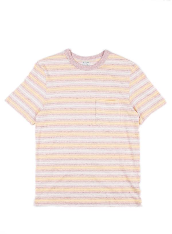 Men's Homespun Dad's Pocket Tee 1940s Stripe Jersey Maroon