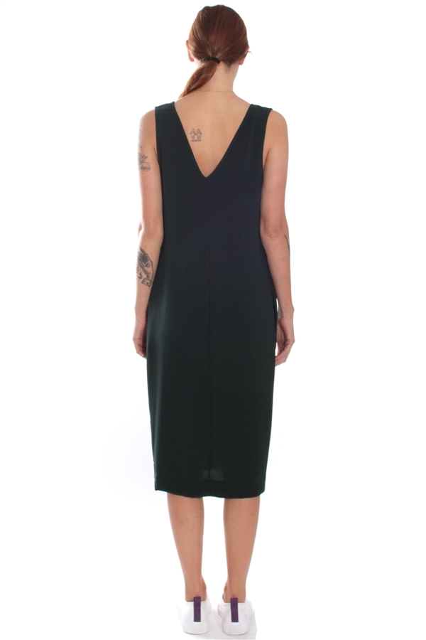 Nomia V-Neck Shift Dress Forest Pique