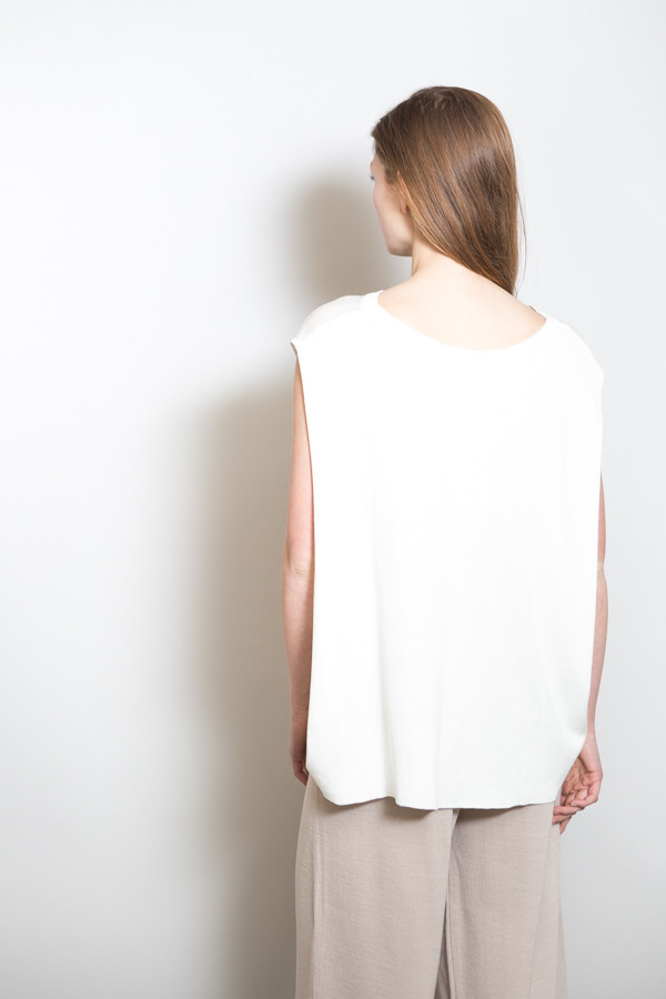 Achro Linen Mixed Knit Top / Ivory