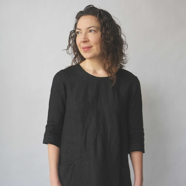 Modaspia Cottage Dress in Black Linen