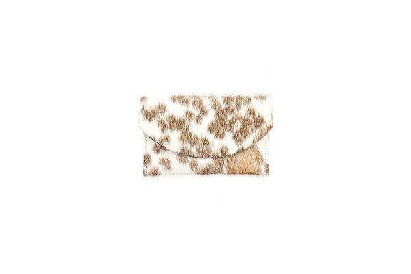 Primecut TAN SPOTTED PASSPORT CLUTCH