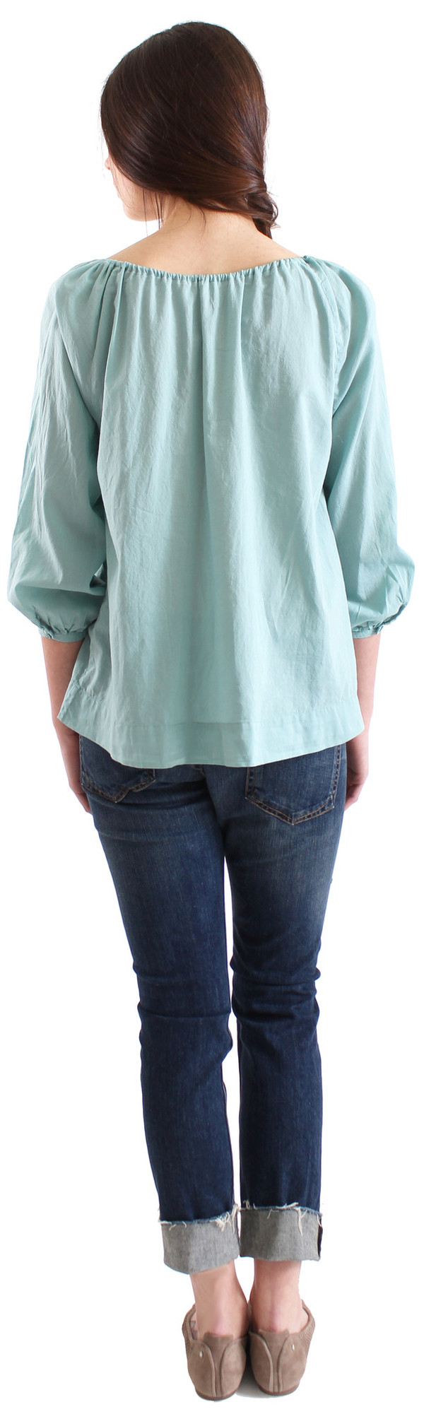 Swildens Orsay Peasant Blouse - Muted Turquoise