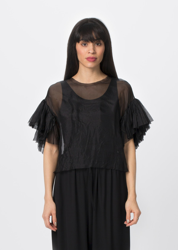 Louiza Babouryan Ruffle Sleeve Top
