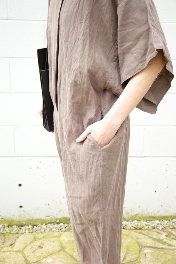 Black Crane Linen Jump Suit
