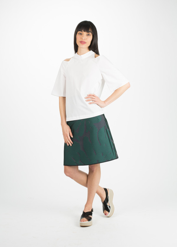 Odeeh A-Line Flower Print Skirt