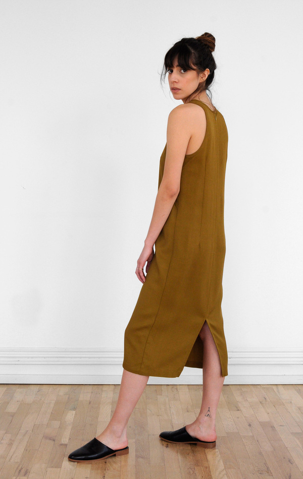 Waltz Sleeveless Racer Dress in Golden Olive