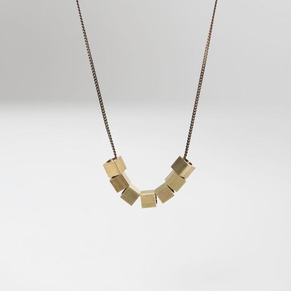 Brass Cubes Necklace