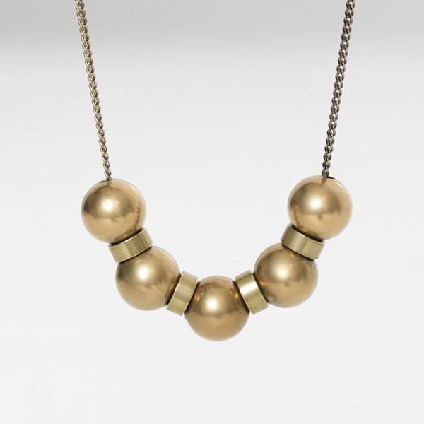 7115 by Szeki Brass Sphere Necklace