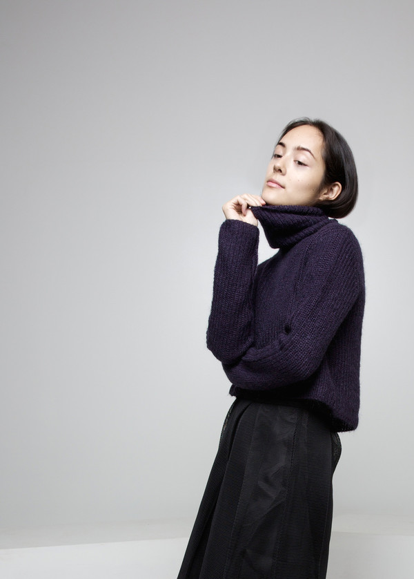 Mohair Turtleneck Cropped Sweater FW15 - Indigo