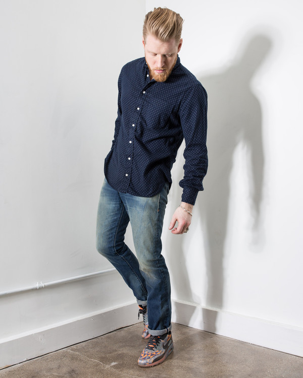 Gitman Bros. Navy Dot Flannel